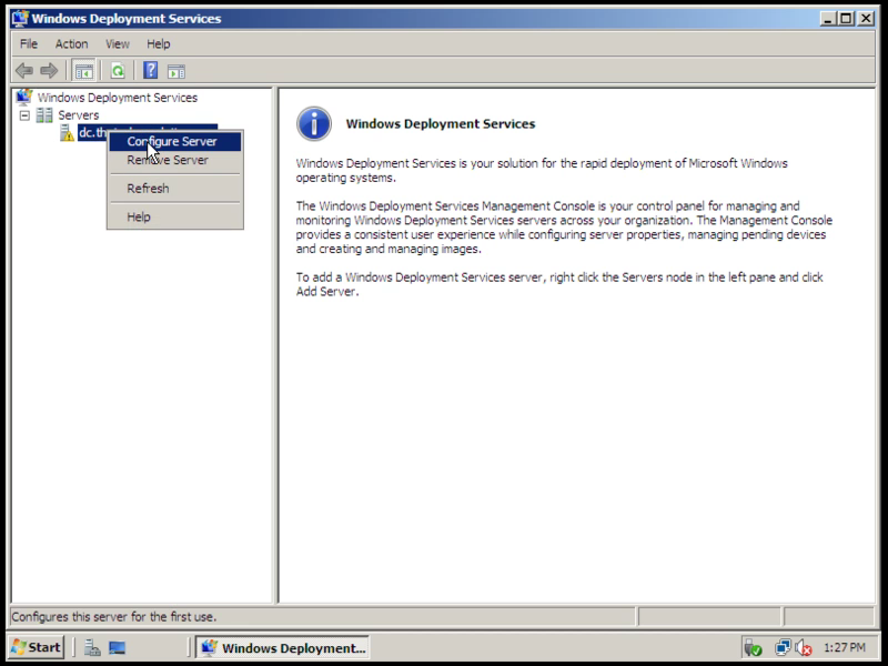 Installing and configuring windows deployment services on