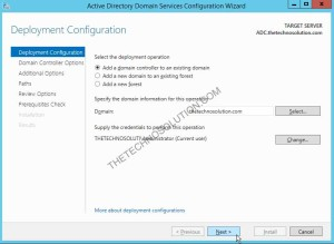 Installing additional domain controller in windows server 2012 R2